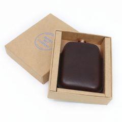 Copper Hip Flask & Italian Leather Sleeve