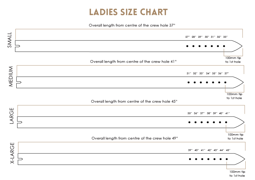 ladies belt size guide